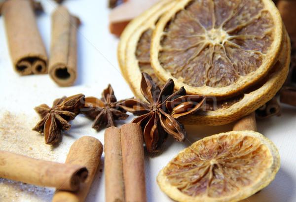 シナモン オレンジ 食品 木材 ストックフォト © tannjuska