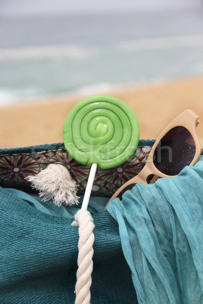 Beach items and waves Stock photo © tannjuska