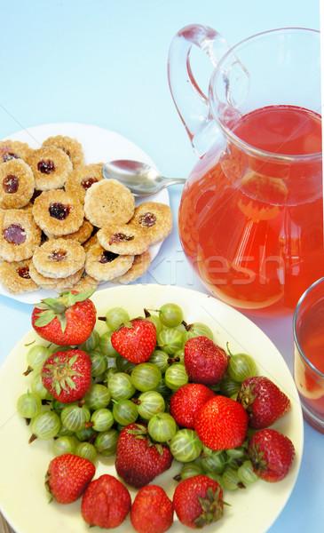 Stockfoto: Zomer · vruchten · dranken · aardbei · mand · vers · fruit