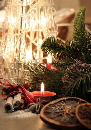 Belle Noël couronne bougies jouets neige Photo stock © tannjuska