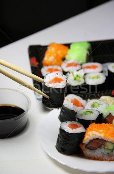 Szusi étel ázsiai főzés étel lazac Stock fotó © tannjuska