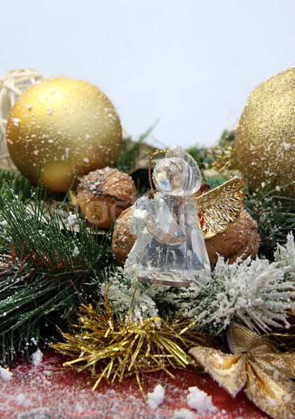 Christmas decorations and glass angel Stock photo © tannjuska