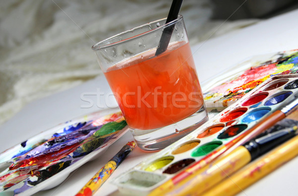 Stock photo: Art palette and watercolors
