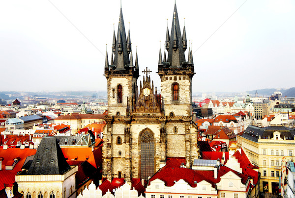 Beautiful Prague view and Tyn church Stock photo © tannjuska