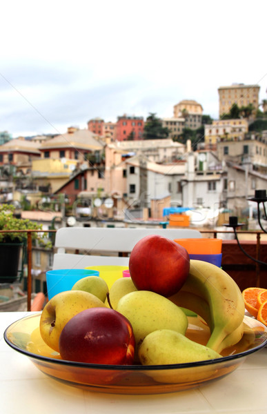 Mix of fruits on the terrace in Genova, Italy Stock photo © tannjuska
