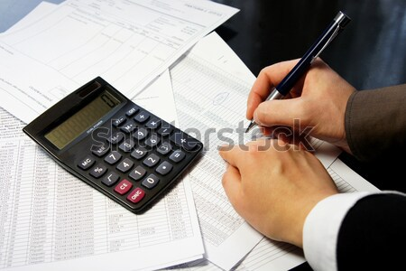 Kantoor tabel calculator pen boekhouding document Stockfoto © tannjuska