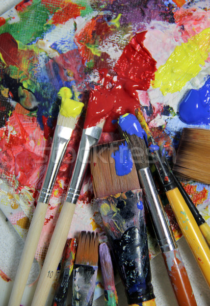 Art palette and mix of paintbrushes  Stock photo © tannjuska
