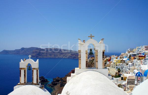 Elképesztő kicsi fehér házak Santorini nyár Stock fotó © tannjuska