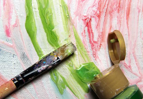Art palette pinceaux photos fleurs Photo stock © tannjuska