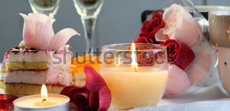 Boda decoraciones día de san valentín alimentos amor mesa Foto stock © tannjuska