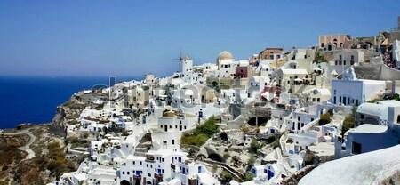 Santorini Grecia bianco case muro panorama Foto d'archivio © tannjuska