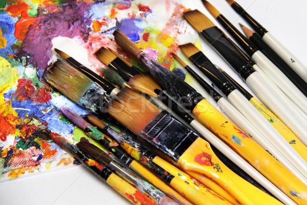 Pinceaux grand professionnels école Photo stock © tannjuska