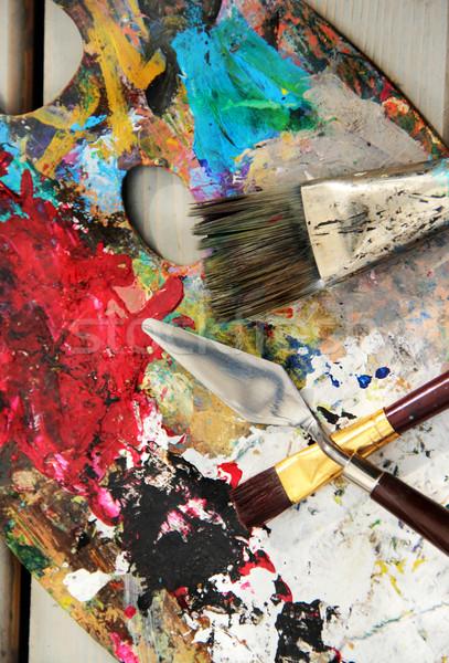Art palette pinceaux couleurs Photo stock © tannjuska