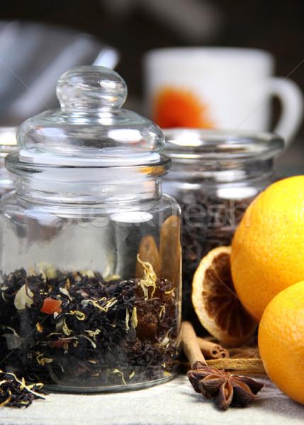 Canela secar naranja té alimentos madera Foto stock © tannjuska