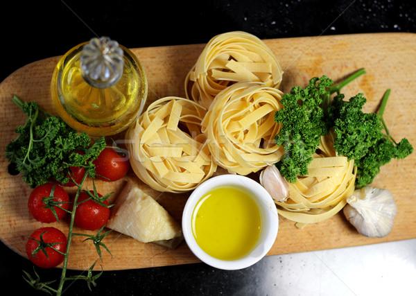 Traditional Italian food tagliatelle with ingredients Stock photo © tannjuska