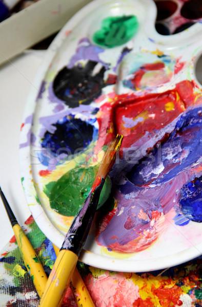 芸術 パレット 水 テクスチャ 作業 抽象的な ストックフォト © tannjuska