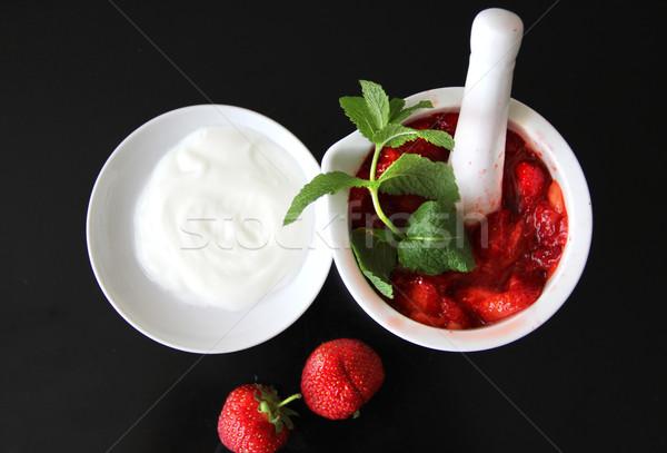 Stok fotoğraf: Ev · yapımı · yoğurt · malzemeler · siyah · yaz · tablo