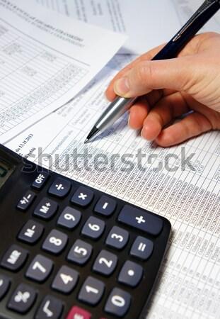 Bureau table simulateur stylo comptables document Photo stock © tannjuska