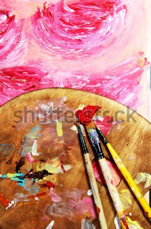 Vivid strokes and paintbrush  Stock photo © tannjuska