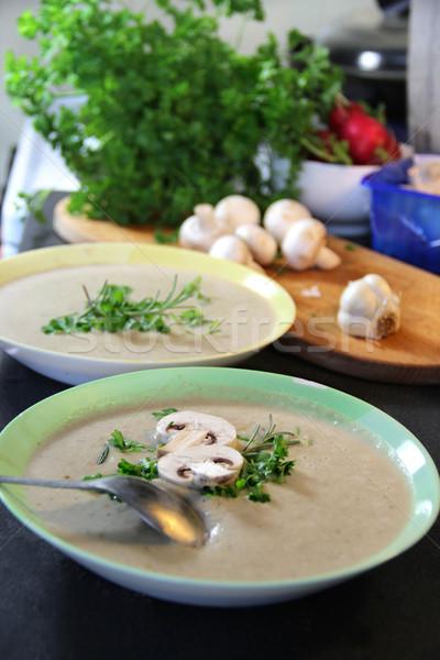 Fraîches champignons champignon soupe préparé Photo stock © tannjuska