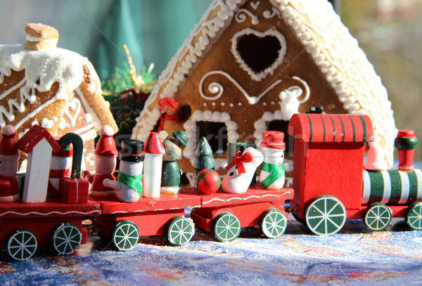 Christmas baked sweet houses and red train Stock photo © tannjuska