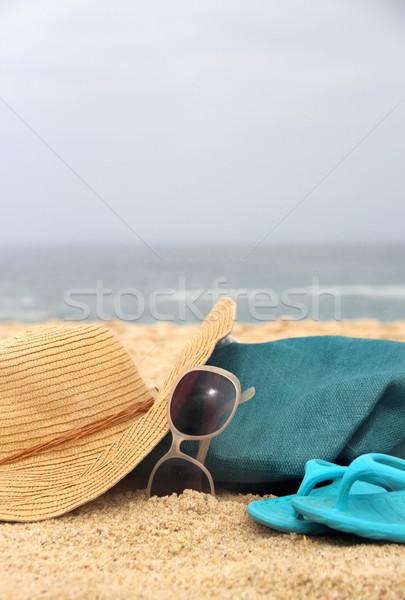 Blue beach bag on the seacoast and straw hat  Stock photo © tannjuska