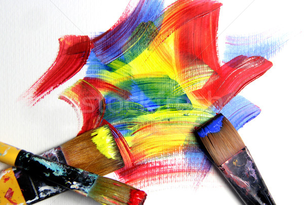 Vivid strokes and paintbrushes Stock photo © tannjuska