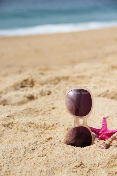 Vide plage de sable lunettes de soleil starfish soleil mer Photo stock © tannjuska