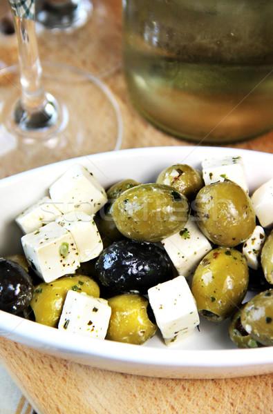 Vert olives noires table vin verre Photo stock © tannjuska
