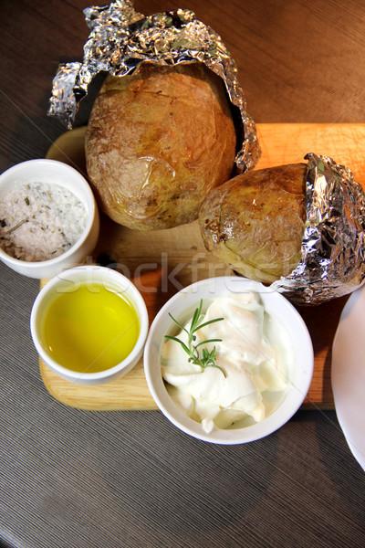 ジャガイモ 木製 トレイ スパイス ストックフォト © tannjuska