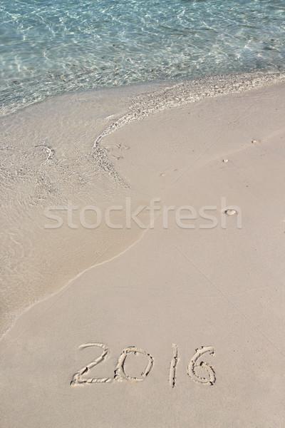 Handschrift opschrift 2016 strand schone Blauw Stockfoto © tannjuska