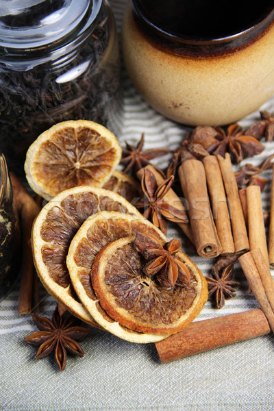 Cinnamon sticks and dried mandarines Stock photo © tannjuska