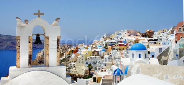 Zdumiewający biały domów santorini Grecja słoneczny Zdjęcia stock © tannjuska