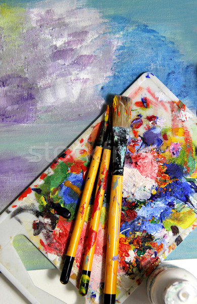 Art palette and mixing painting  Stock photo © tannjuska