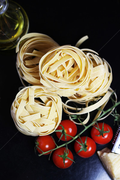 Traditional Italian food tagliatelle with ingredients Stock photo © tannjuska