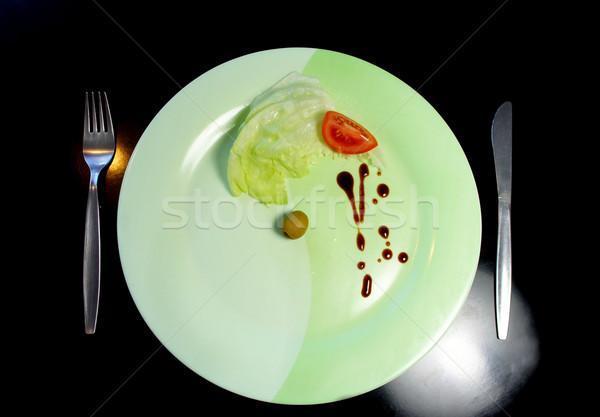 Groot plaat klein stuk voedsel stukken Stockfoto © tannjuska