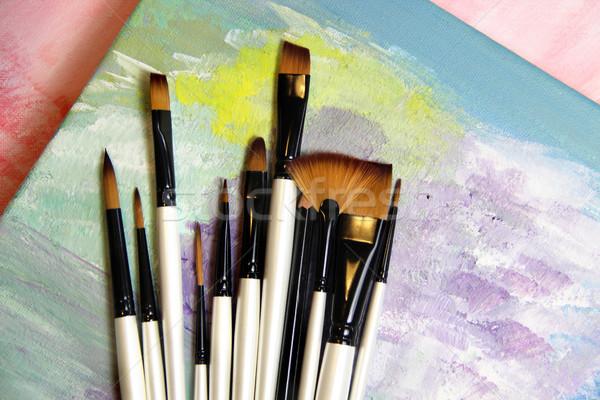 Pinceles grande establecer profesional escuela pintura Foto stock © tannjuska