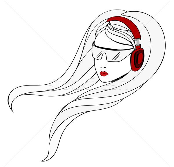 Jong meisje hoofdtelefoon luisteren muziek Rood haren Stockfoto © tanya_ivanchuk