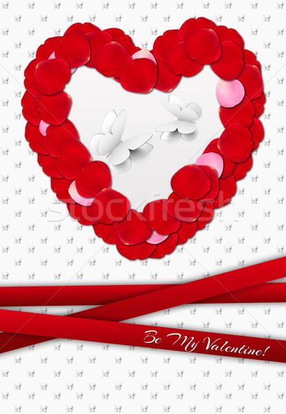 Valentijn wenskaart Rood vlinder achtergrond Stockfoto © tanya_ivanchuk