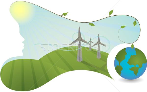 Natuur helpen energie landschap wind energiecentrale Stockfoto © tanya_ivanchuk