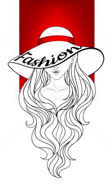 Jong meisje vintage hoed groot velden lang haar Stockfoto © tanya_ivanchuk