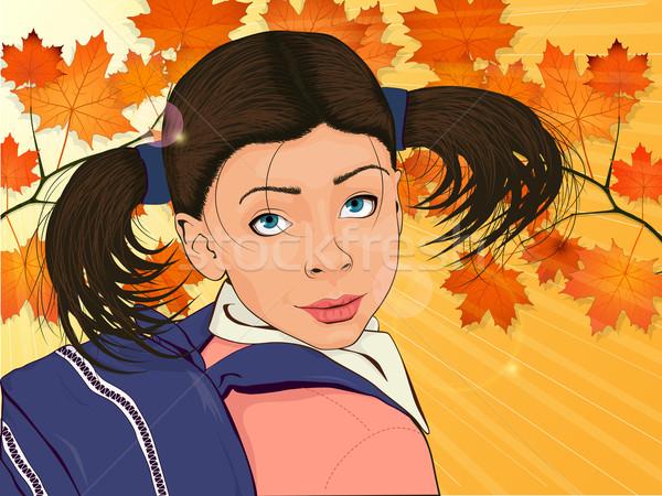Kleurrijk portret meisje rugzak weinig gelukkig meisje Stockfoto © tanya_ivanchuk