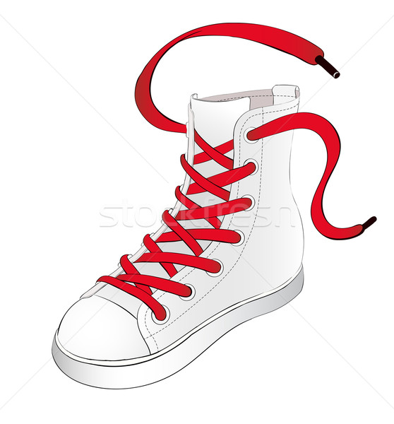White Sneakers with Red Shoelaces Stock photo © tanya_ivanchuk