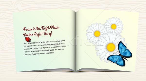 Open boek bloemen vlinder drie Blauw lieveheersbeestje Stockfoto © tanya_ivanchuk