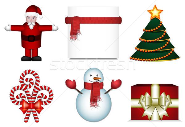 Christmas ingesteld kerstman kerstboom sneeuwpop geschenkdoos Stockfoto © tanya_ivanchuk