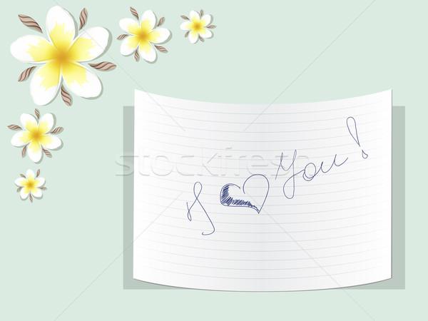 Nota liefde tabel bloemen achtergrond schoonheid Stockfoto © tanya_ivanchuk