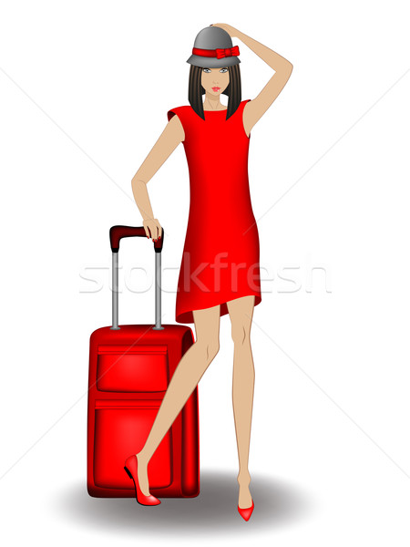 Jong meisje reis Rood zwarte hoed Stockfoto © tanya_ivanchuk