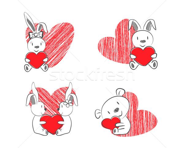 Valentijnsdag konijnen beer Rood hart Stockfoto © tanya_ivanchuk