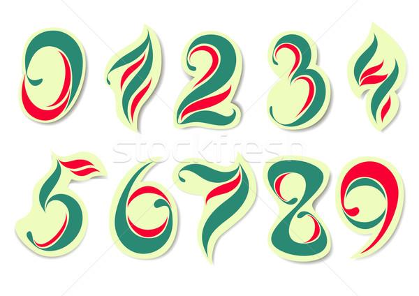 Kleurrijk nummers drie kleuren ontwerp Rood Stockfoto © tanya_ivanchuk