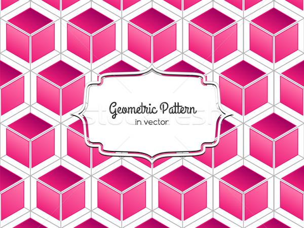 Roze kubus patroon vector geometrisch patroon 3D Stockfoto © tanya_ivanchuk